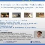 "Seminar on Scientific Publication : ""Publishing in Academic Journals: Tips from Taylor & Francis"""