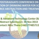 Postgraduate Conference On Protection Of Drinking Water For Society : Source Abstraction And Treatment