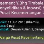 Sesi Engagement TNCPI bersama Warga Pusat Kecemerlangan UTM