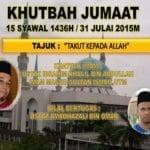 Khutbah Jumaat 15 Syawal 1436H