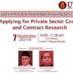 Experience & Knowledge Sharing Session – Applying for Private Sector Grant & Contract Research