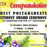 Best Postgraduate Student Award Oct 2016