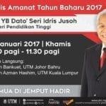 Majlis Amanat Tahun Baharu 2017 oleh Menteri Pendidikan Tinggi