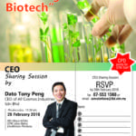 "CEO Sharing Session by Dato Tony Peng : ""Growing with Biotech"""