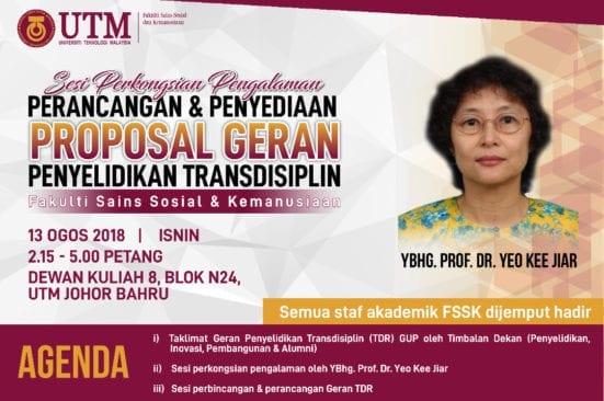 Sesi perkongsian: Perancangan & Penyediaan Proposal Geran Penyelidikan Transdisiplin
