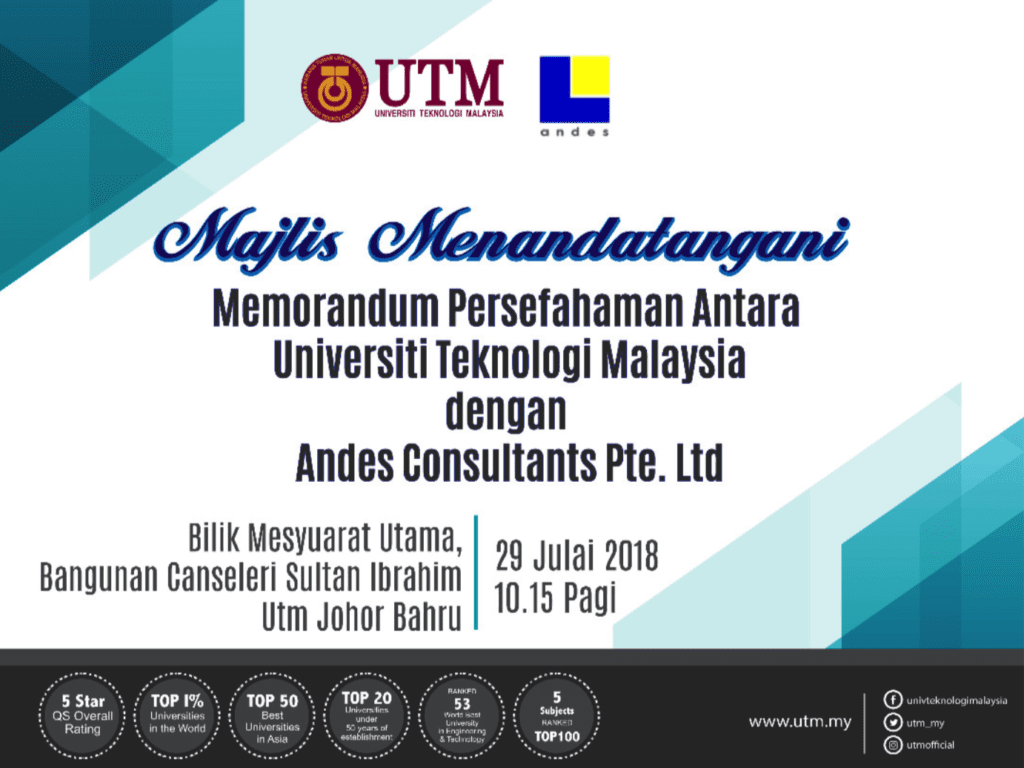MoU Signing Ceremony UTM & ANDES Consultants Pte. Ltd. Singapore